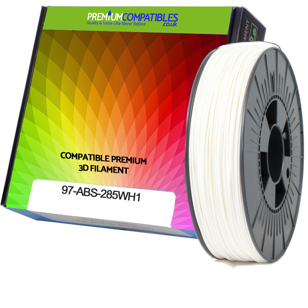 Premium Compatible ABS 2.85mm White 1kg 3D Filament (97-ABS-285WH1)