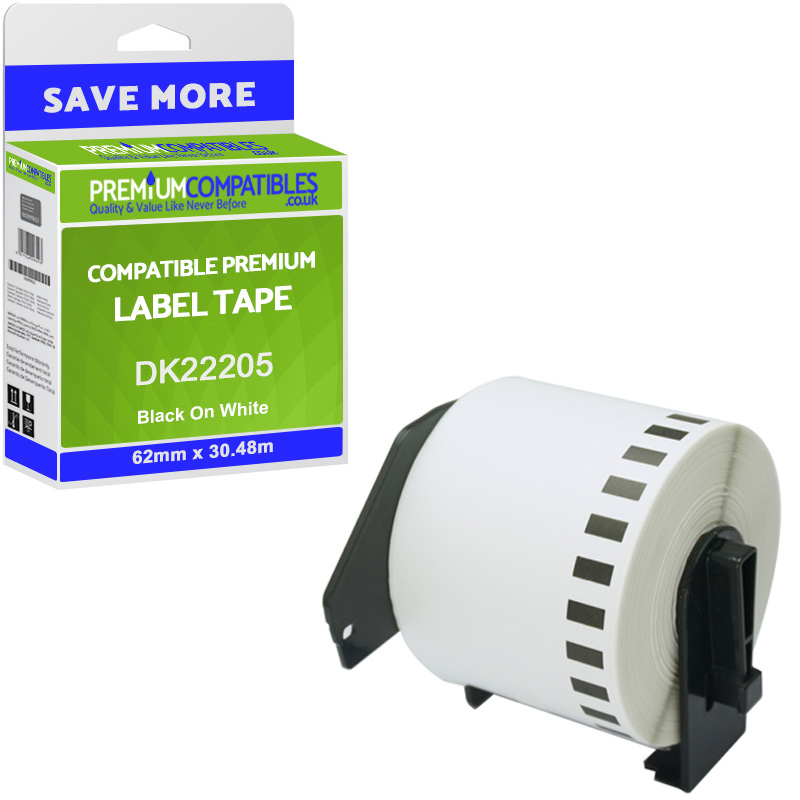 Premium Compatible Brother DK-22205 Black On White 62mm x 30.48m Continuous Paper Label Roll Tape (DK22205)