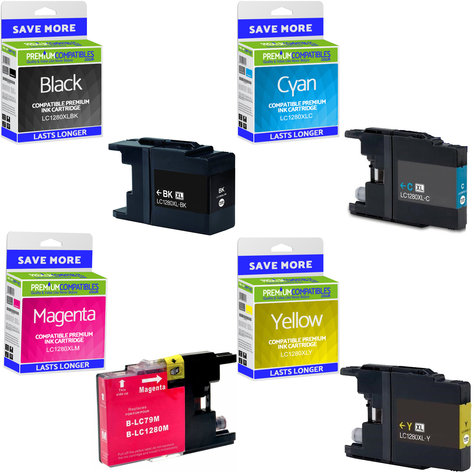 Premium Compatible Brother LC1280XL CMYK Multipack Super High Capacity Ink Cartridges (LC1280XLVALBP)