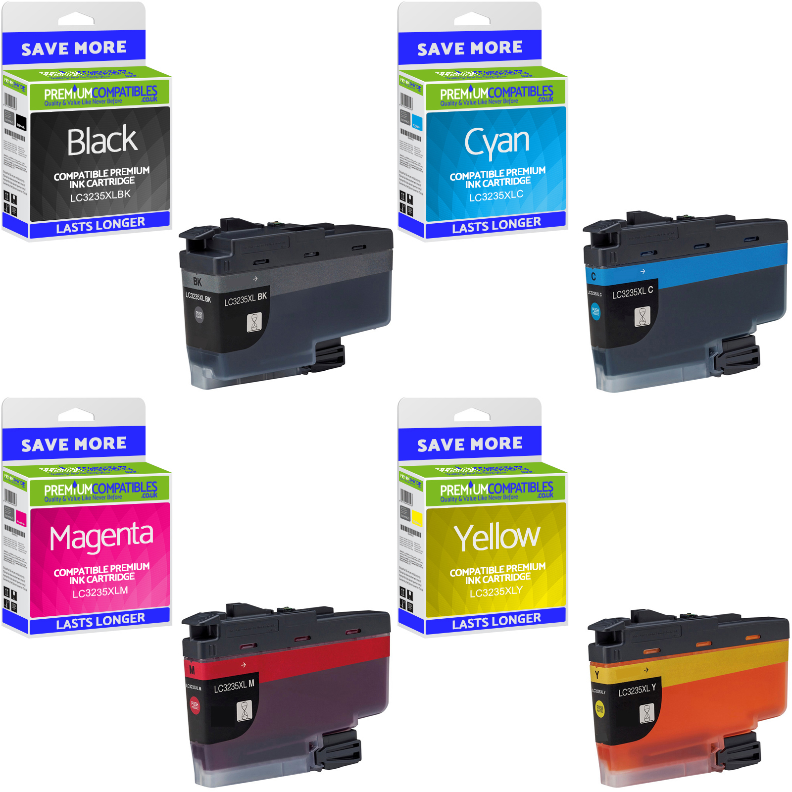Premium Compatible Brother LC3235XL CMYK Multipack High Capacity Ink Cartridges (LC3235XLBK/ LC3235XLC/ LC3235XLM/ LC3235XLY)