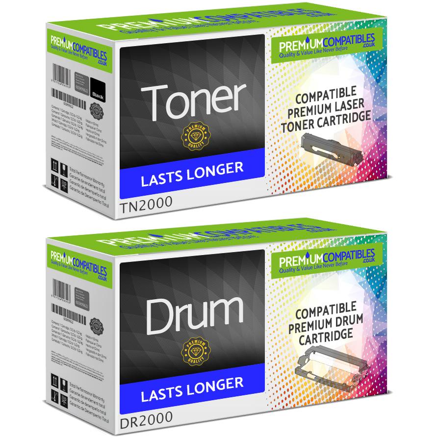 Premium Compatible Brother TN-2000 / DR-2000 Black Toner Cartridge & Drum Unit Combo Pack (TN2000 & DR2000)