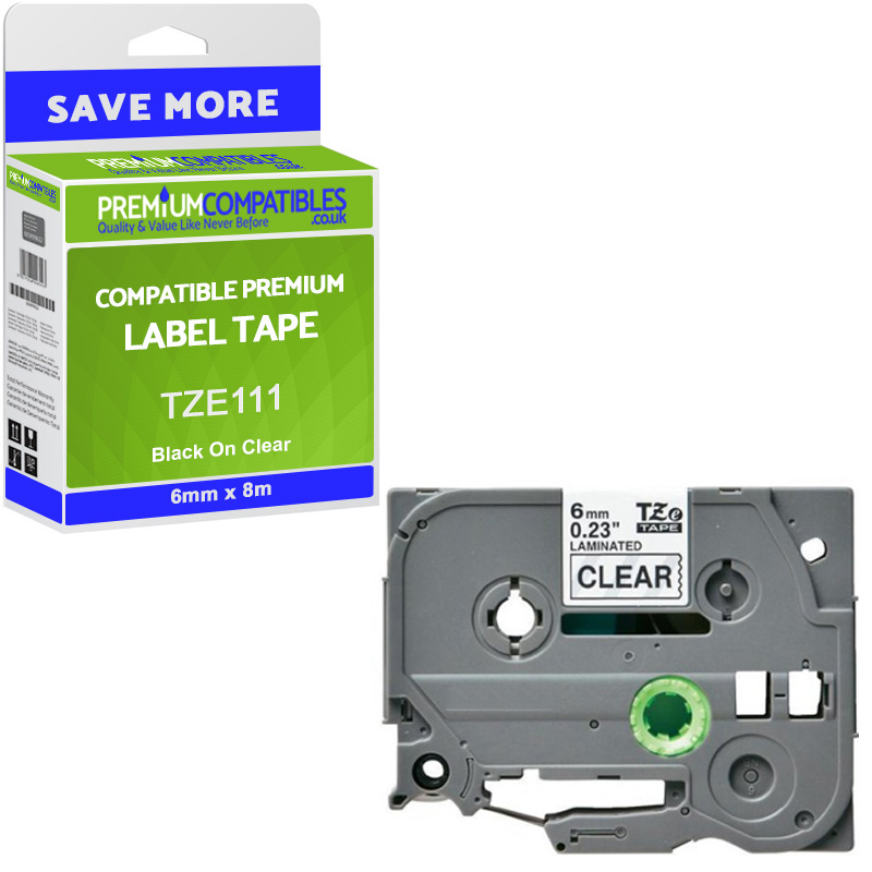 Premium Compatible Brother TZe-111 Black On Clear 6mm x 8m Laminated P-Touch Label Tape (TZE111)