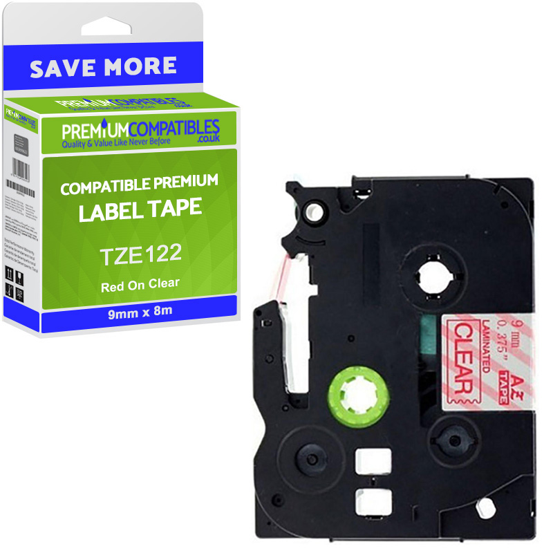 Premium Compatible Brother TZe-122 Red On Clear 9mm x 8m Laminated P-Touch Label Tape (TZE122)