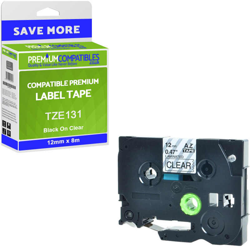 Premium Compatible Brother TZe-131 Black On Clear 12mm x 8m Laminated P-Touch Label Tape (TZE131)