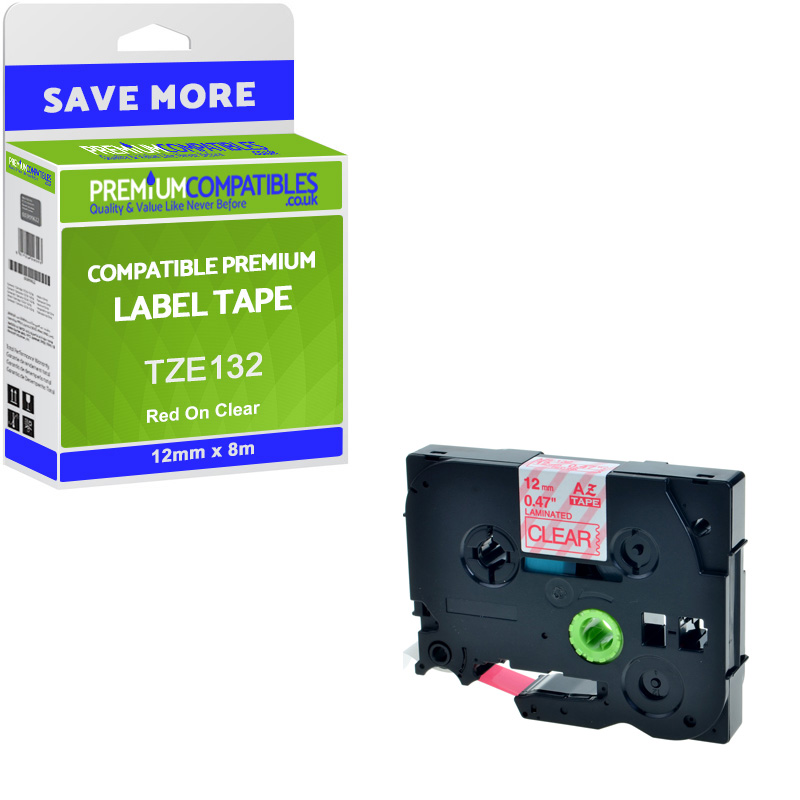 Premium Compatible Brother TZe-132 Red On Clear 12mm x 8m Laminated P-Touch Label Tape (TZE132)