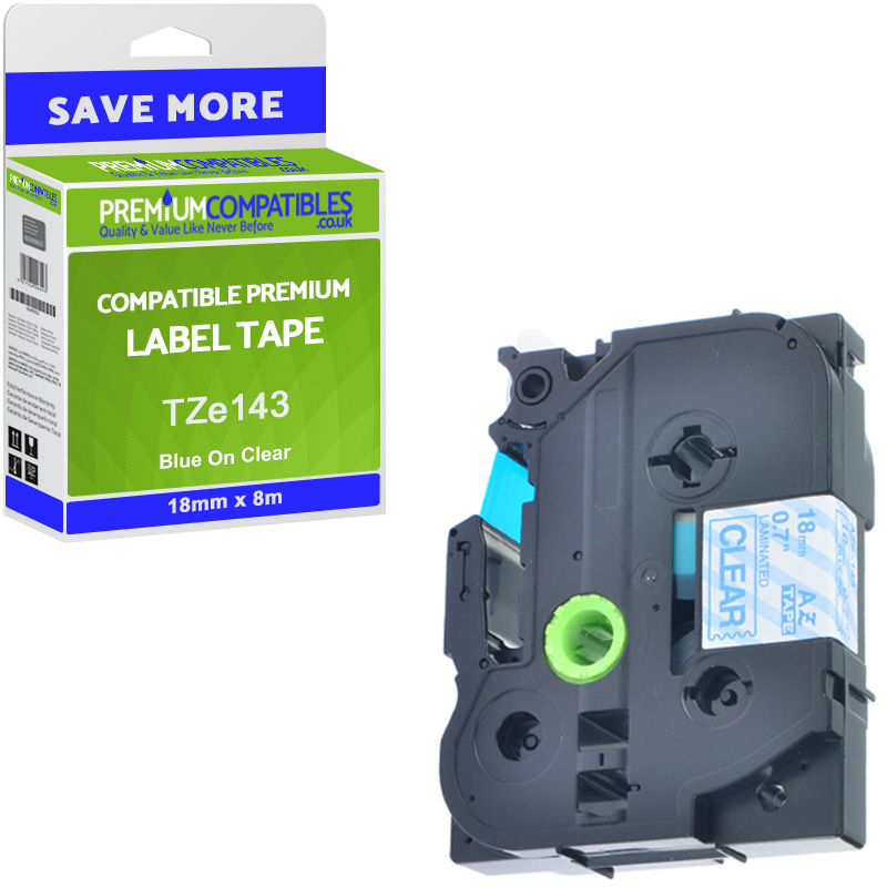 Premium Compatible Brother TZe-143 Blue On Clear 18mm x 8m Laminated P-Touch Label Tape (TZe143)