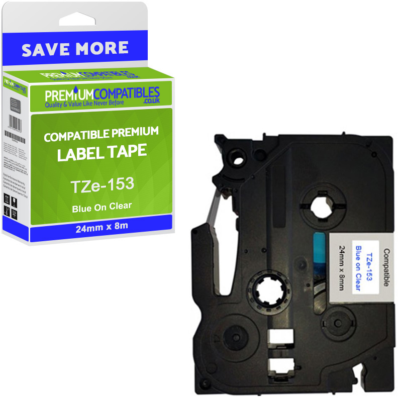 Premium Compatible Brother TZe-153 Blue On Clear 24mm x 8m Laminated P-Touch Label Tape (TZe-153)