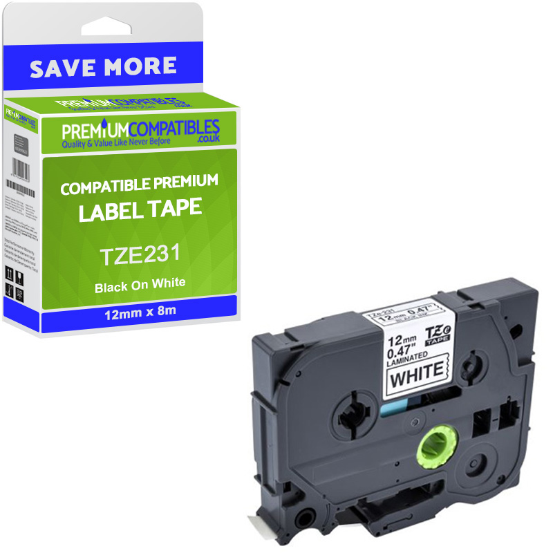 Premium Compatible Brother TZe-231 Black On White 12mm x 8m Laminated P-Touch Label Tape (TZE231)