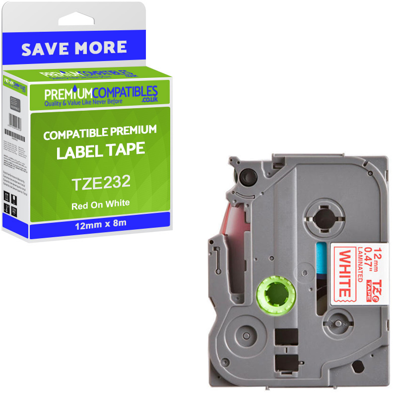 Premium Compatible Brother TZe-232 Red On White 12mm x 8m Laminated P-Touch Label Tape (TZE232)