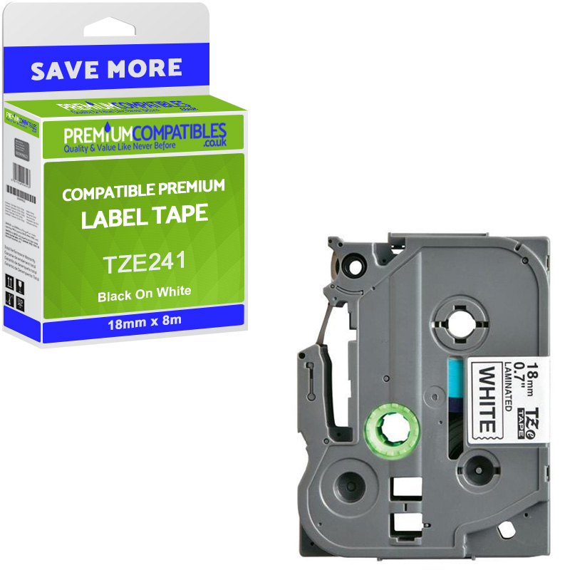 Premium Compatible Brother TZe-241 Black On White 18mm x 8m Laminated P-Touch Label Tape (TZE241)
