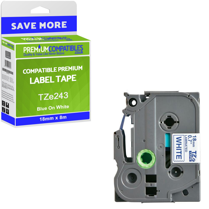 Premium Compatible Brother TZe-243 Blue On White 18mm x 8m Laminated P-Touch Label Tape (TZe243)