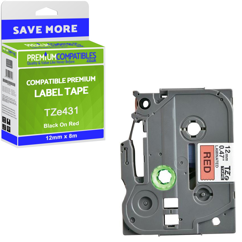 Premium Compatible Brother TZe-431 Black On Red 12mm x 8m Laminated P-Touch Label Tape (TZe431)