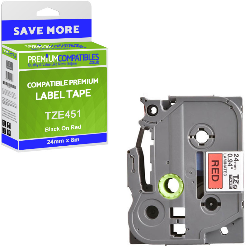 Premium Compatible Brother TZe-451 Black On Red 24mm x 8m Laminated P-Touch Label Tape (TZE451)