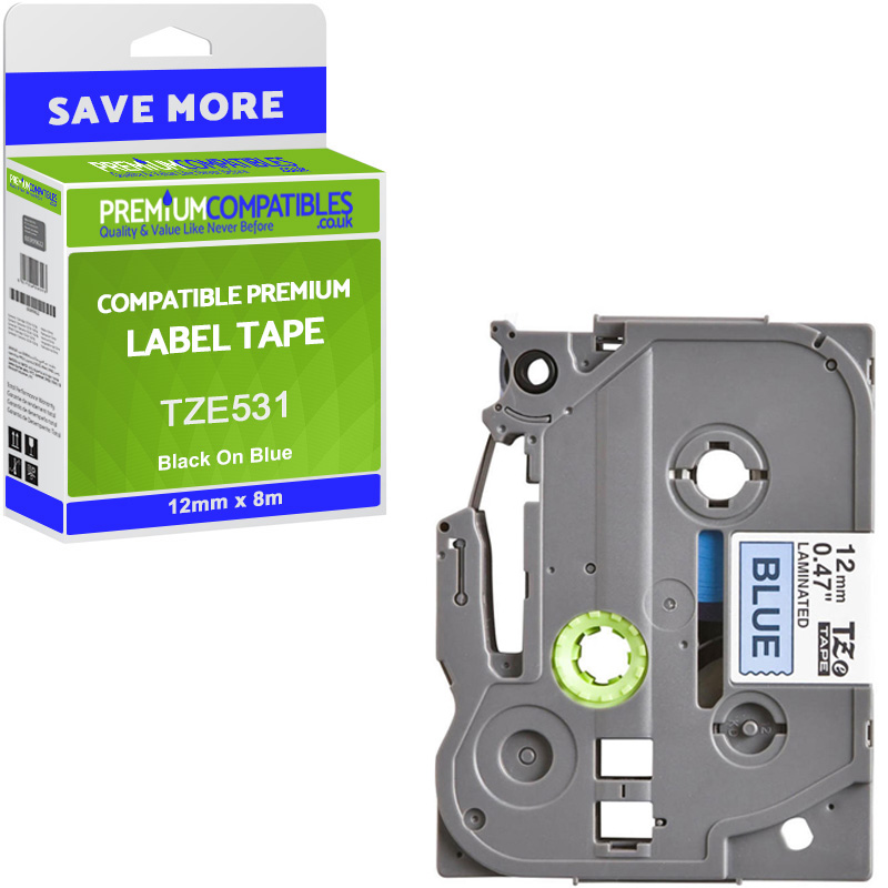 Premium Compatible Brother TZe-531 Black On Blue 12mm x 8m Laminated P-Touch Label Tape (TZE531)