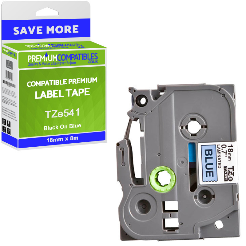 Premium Compatible Brother TZe-541 Black On Blue 18mm x 8m Laminated P-Touch Label Tape (TZe541)