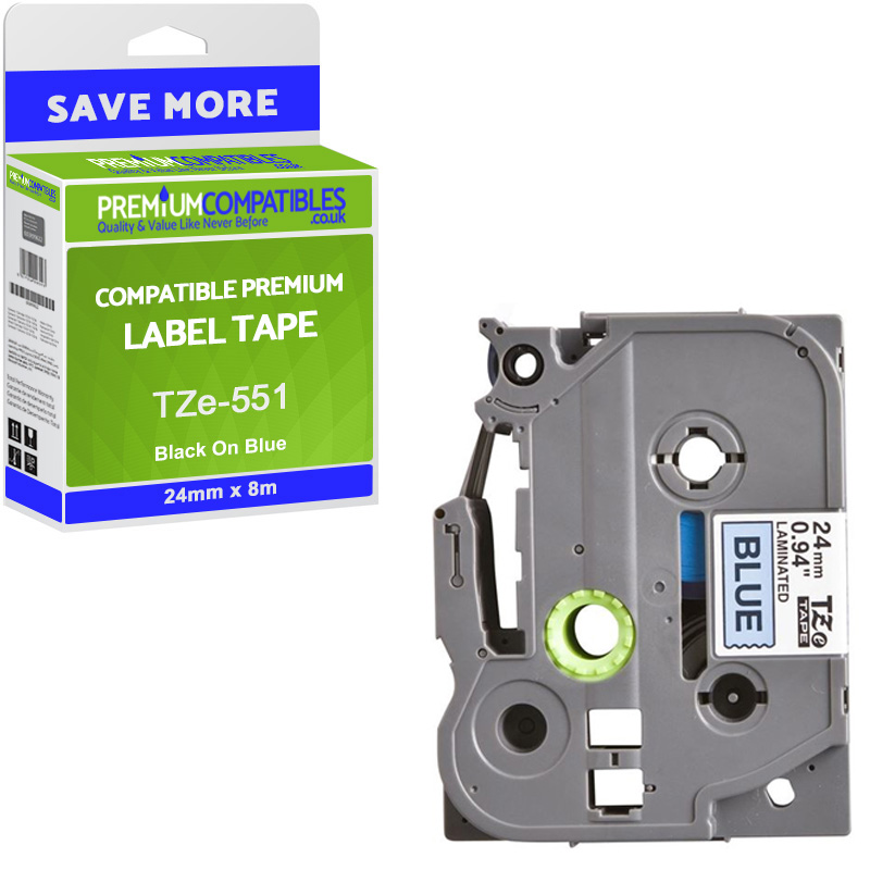 Premium Compatible Brother TZe-551 Black On Blue 24mm x 8m Laminated P-Touch Label Tape (TZe551)