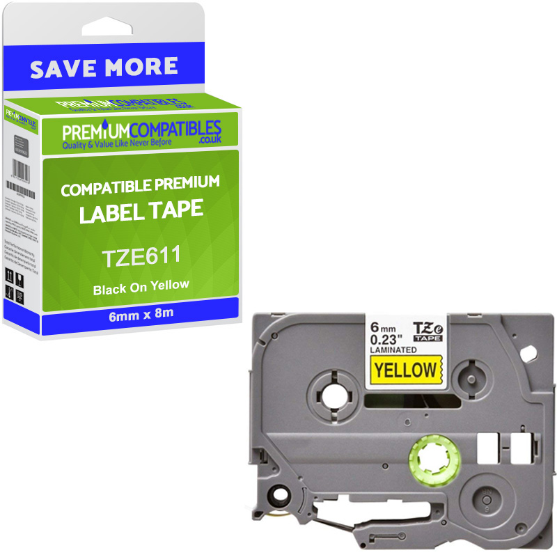 Premium Compatible Brother TZe-611 Black On Yellow 6mm x 8m Laminated P-Touch Label Tape (TZE611)