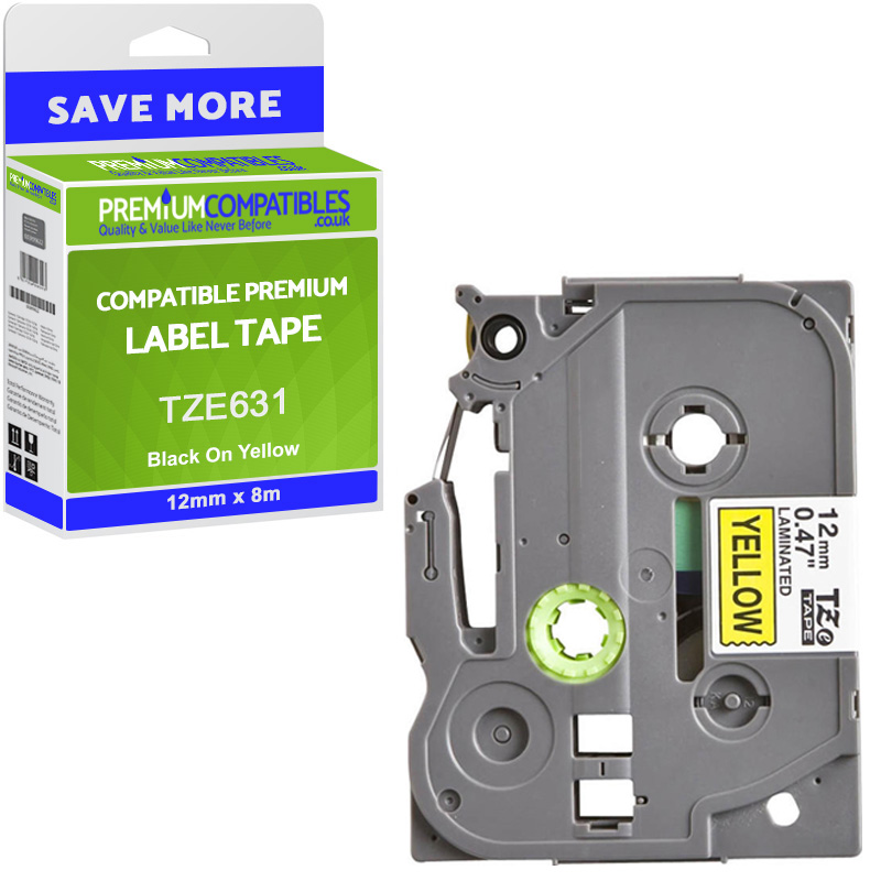 Premium Compatible Brother TZe-631 Black On Yellow 12mm x 8m Laminated P-Touch Label Tape (TZE631)