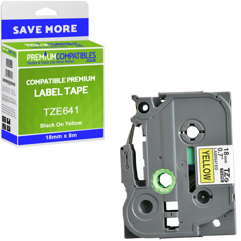 Premium Compatible Brother TZe-641 Black On Yellow 18mm x 8m Laminated P-Touch Label Tape (TZE641)