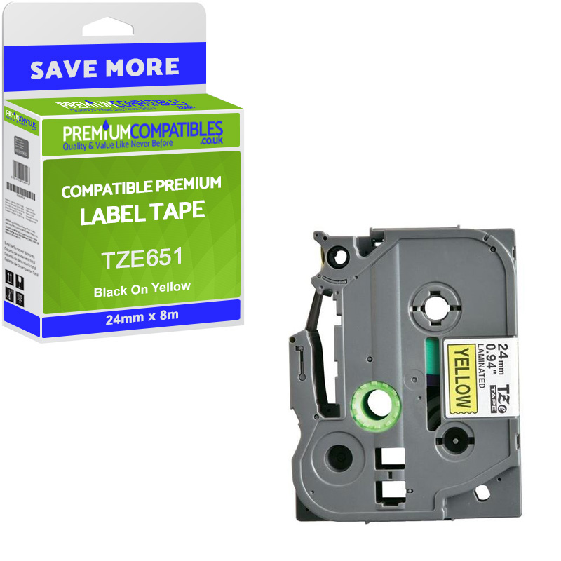 Premium Compatible Brother TZe-651 Black On Yellow 24mm x 8m Laminated P-Touch Label Tape (TZE651)