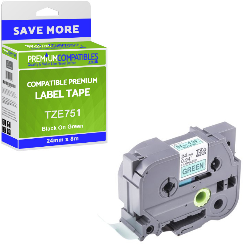 Premium Compatible Brother TZe-751 Black On Green 24mm x 8m Laminated P-Touch Label Tape (TZE751)