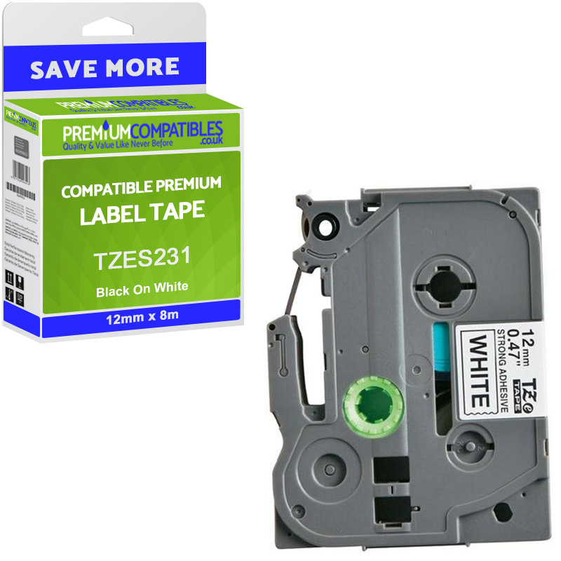 Premium Compatible Brother TZe-S231 Black On White 12mm x 8m Strong Adhesive Laminated P-Touch Label Tape (TZES231)