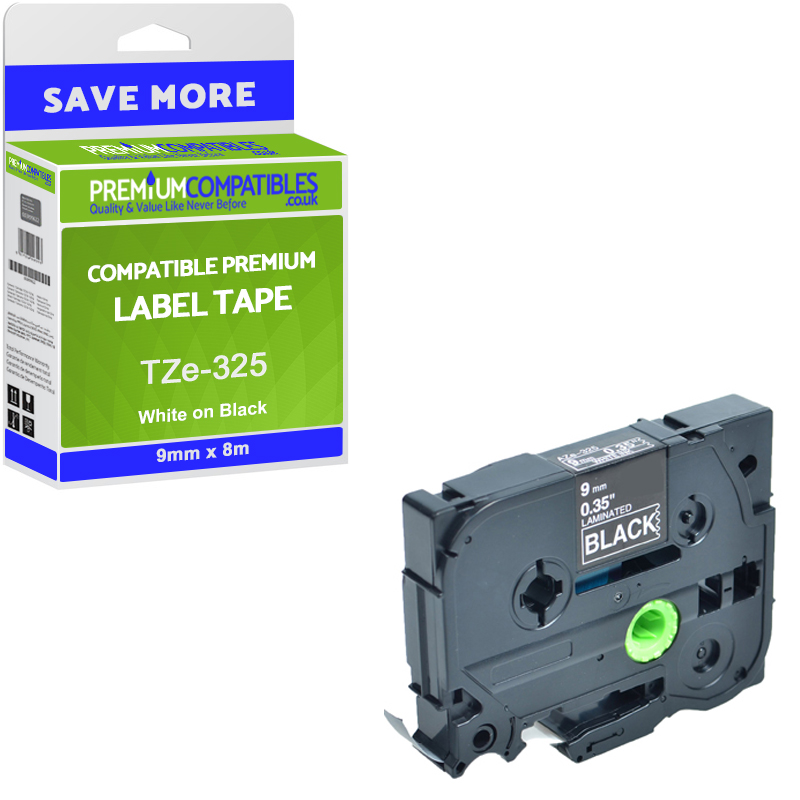 Premium Compatible Brother TZe-325 White On Black 9mm x 8m Laminated P-Touch Label Tape (TZE325)