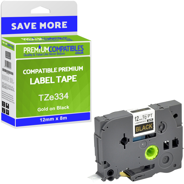 Premium Compatible Brother TZe334 Gold On Black 12mm x 8m Laminated P-Touch Label Tape (TZE-334)