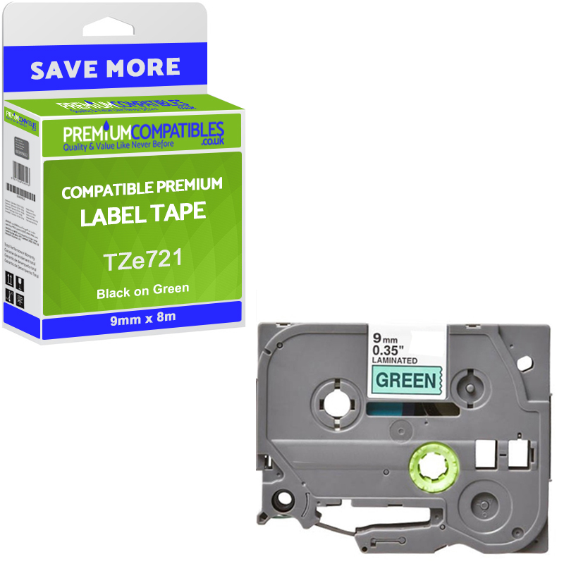 Premium Compatible Brother TZe721 Black On Green 9mm x 8m Laminated P-Touch Label Tape (TZE-721)