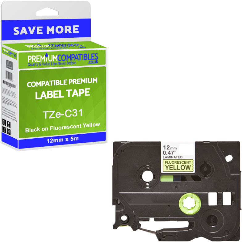 Premium Compatible Brother TZe-C31 Black On Fluorescent Yellow 12mm x 5m Laminated P-Touch Label Tape (TZEC31)