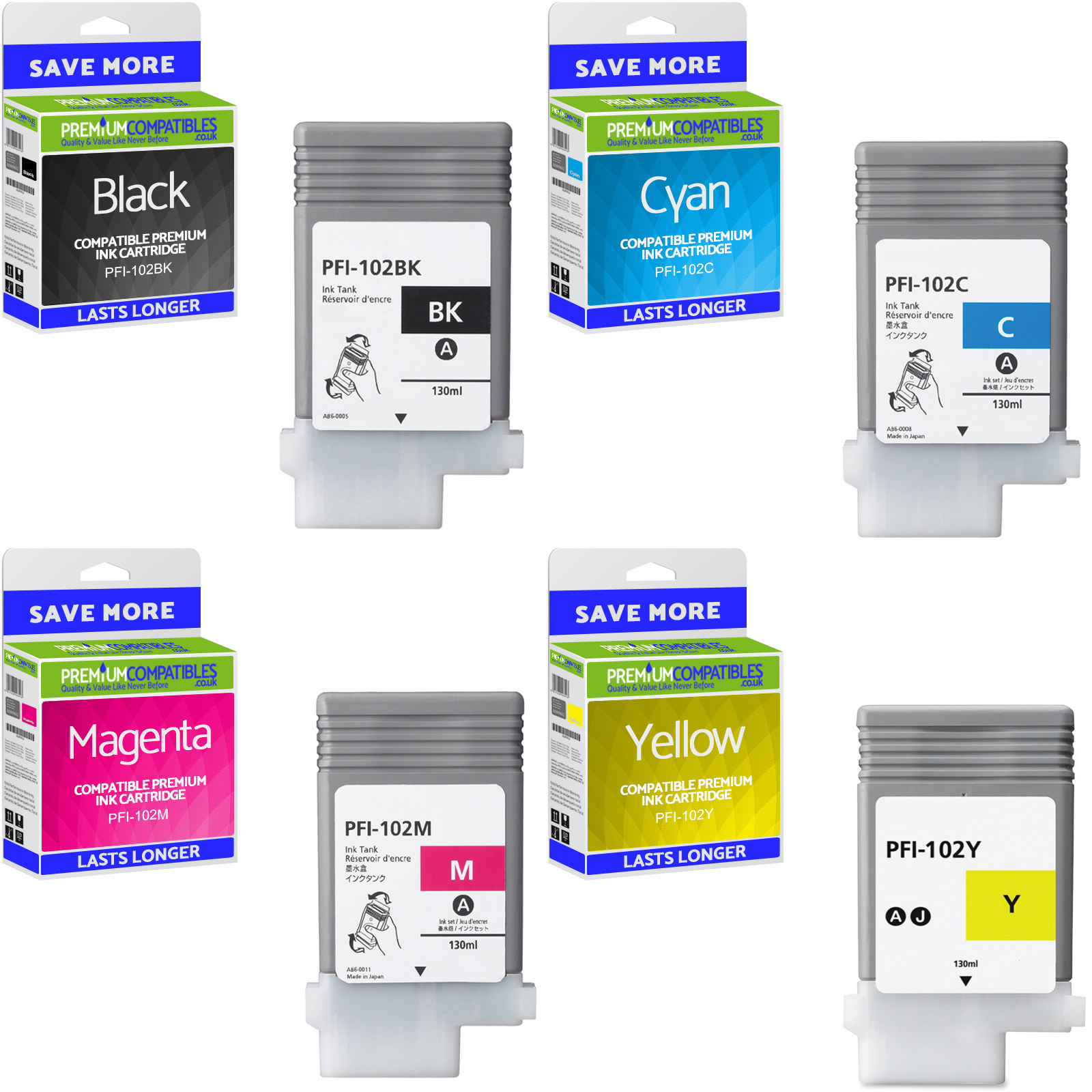 Premium Compatible Canon PFI-102 CMYK Multipack Ink Cartridges (0895B001 / 0896B001 / 0897B001 / 0898B001)