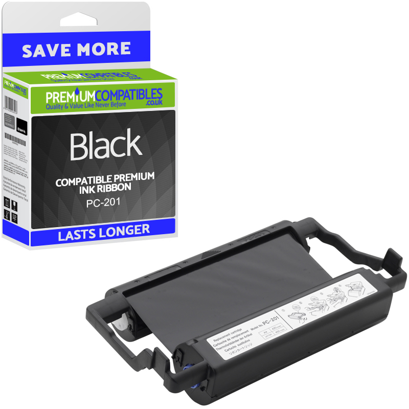 Premium Compatible Brother PC-201 Black Ink Ribbon Cartridge (PC201)