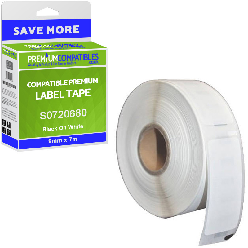 Premium Compatible Dymo 40913 Black On White 9mm x 7m D1 Label Tape (S0720680)
