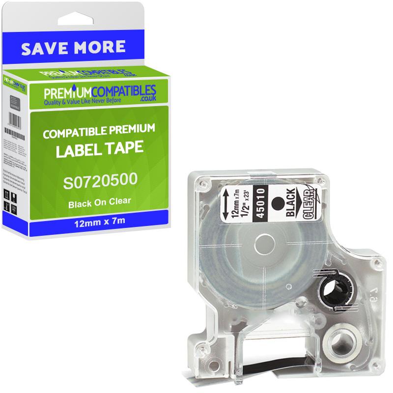 Premium Compatible Dymo 45010 Black On Clear 12mm x 7m D1 Label Tape (S0720500)