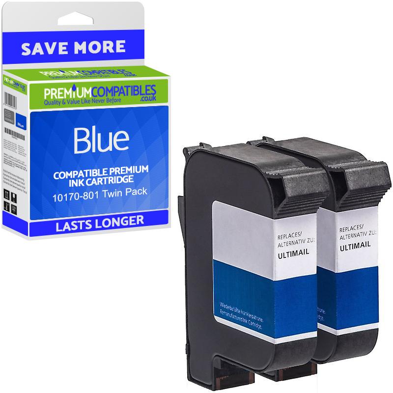 Premium Remanufactured Francotyp Postalia 58.0033.3137.00 Blue Twin Pack Franking Ink Cartridges (10170-801)