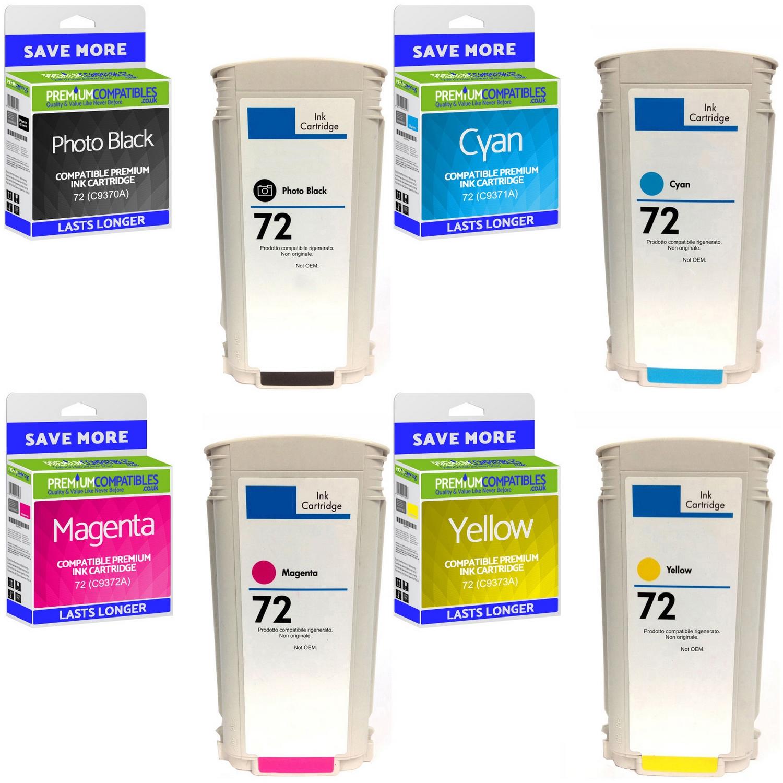 6 GENUINE HP 72 C9403A C9370A C9371A C9372A C9373A C9374A NEW Ink Cartridges OEM