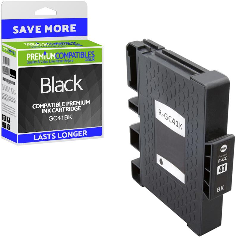 Premium Compatible Ricoh GC41BK Black High Capacity Gel Ink Cartridge (405761)