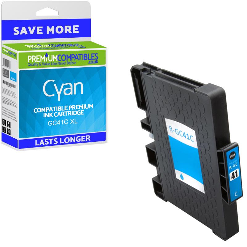 Premium Compatible Ricoh GC41C High Capacity Cyan Gel Ink Cartridge (405762)