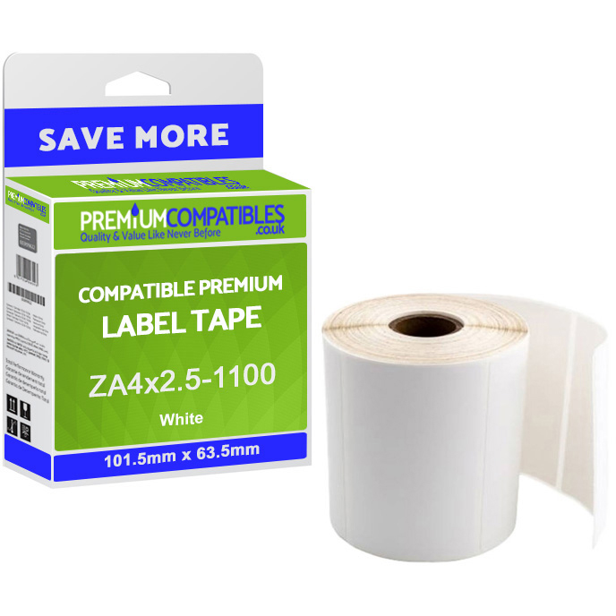 Premium Compatible Zebra 101.5mm x 63.5mm White Shipping Label Roll - 1,100 Labels (ZA4x2.5-1100)