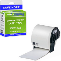 Premium Compatible Brother DK-11202 Black On White 62mm x 100mm Shipping Label Roll Tape - 300 Labels (DK11202)
