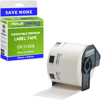 Premium Compatible Brother DK-11209 Black On White 29mm x 62mm Small Address Label Roll Tape - 800 Labels (DK11209)