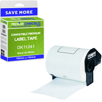 Premium Compatible Brother DK-11241 Black On White 102mm x 152mm Large Shipping Label Roll Tape - 200 Labels (DK11241)