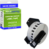 Premium Compatible Brother DK-22210 Black On White 29mm x 30.48m Continuous Paper Label Tape (DK22210)
