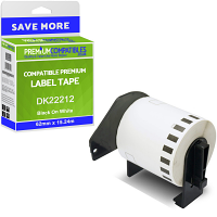 Premium Compatible Brother DK-22212 Black On White 62mm x 15.24m Continuous White Film Label Tape (DK22212)
