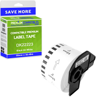 Premium Compatible Brother DK-22223 Black On White 50mm x 30.48m Continuous Paper Label Tape (DK22223)