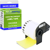 Premium Compatible Brother DK-22606 Black On Yellow 62mm x 15.24m Continuous Paper Film Tape (DK22606)