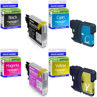 Premium Compatible Brother LC1100HY CMYK Multipack High Capacity Ink Cartridges (LC1100HYBK/YC/YM/YY)