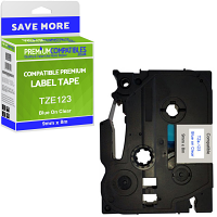 Premium Compatible Brother TZe-123 Blue On Clear 9mm x 8m Laminated P-Touch Label Tape (TZE123)
