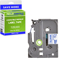 Premium Compatible Brother TZe-223 Blue On White 9mm x 8m Laminated P-Touch Label Tape (TZE223)