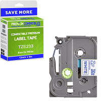 Premium Compatible Brother TZe-233 Blue On White 12mm x 8m Laminated P-Touch Label Tape (TZE233)